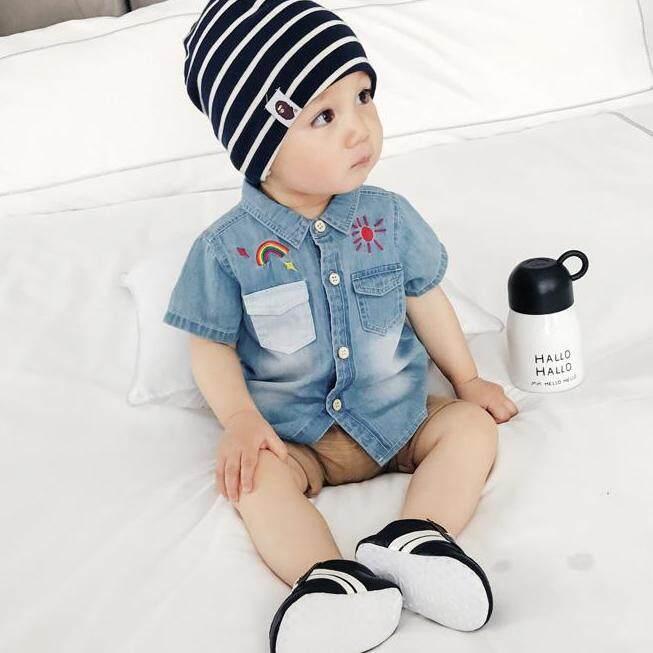 (0-2yrs old) Baby Infant Toddler Short Sleeves Denim Collar Shirt