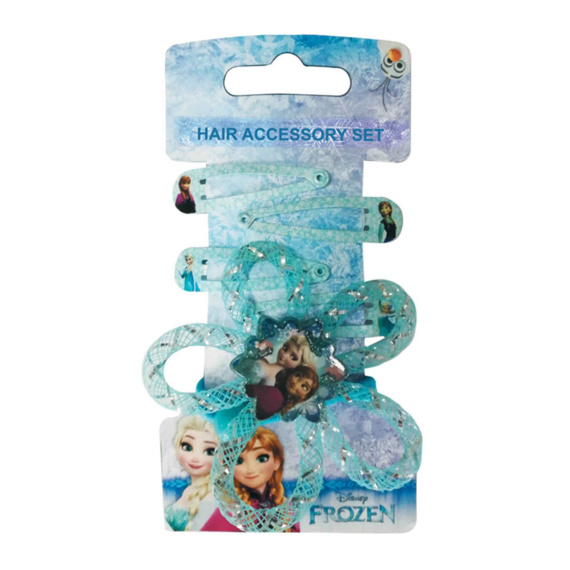 Disney Princess Frozen 2 In 1 Girls Elastic Rope Hair Ponytail Holders, Tic Tac Hair Clips Hair Accessories Set - Blue Colour