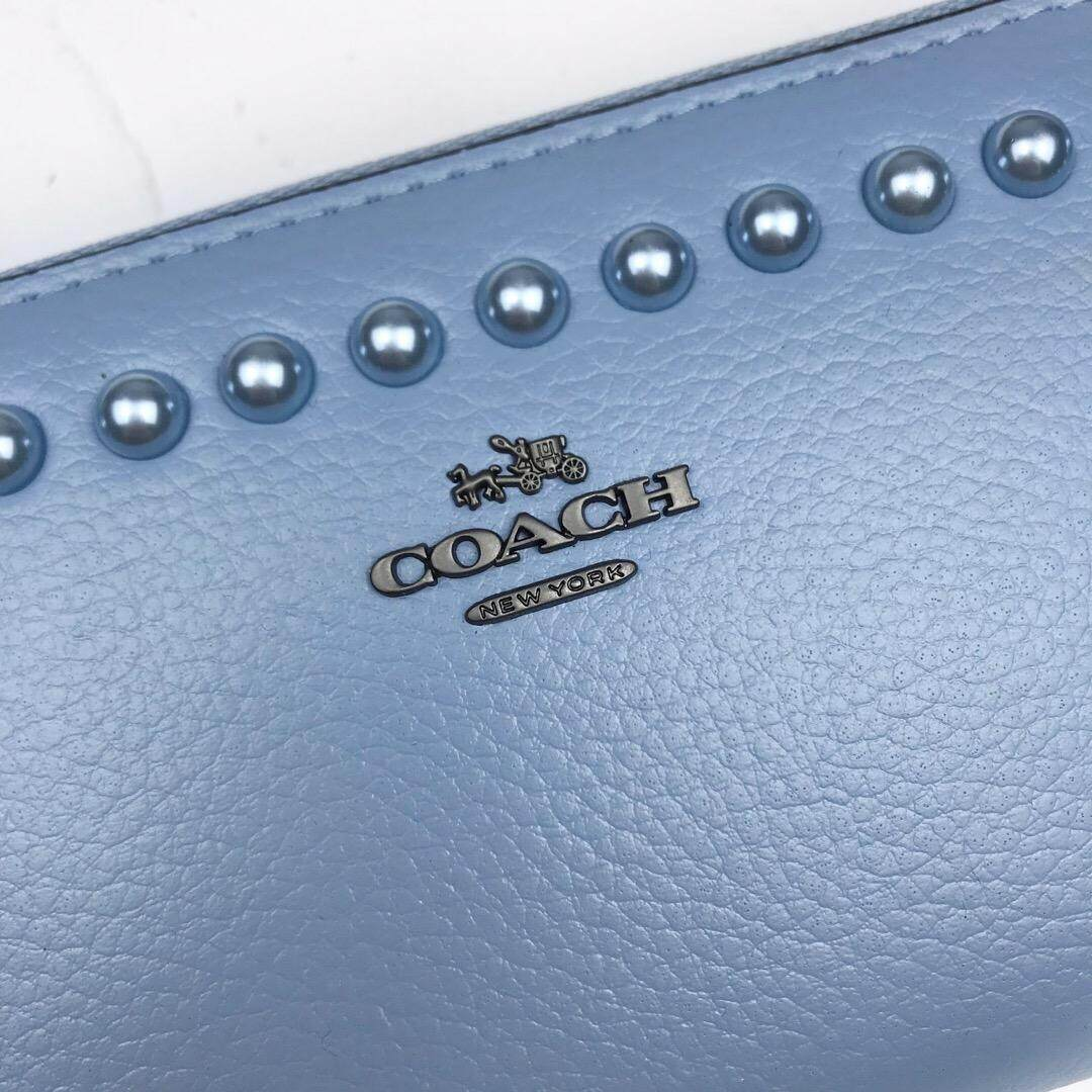 Coach Polished Pebble Leather Lacquer Rivets 12041 Wallet(Blue)