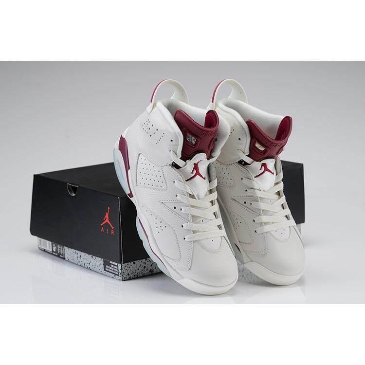 c93d7cae580603 Asli NIKE AIR JORDAN 6 Maroon AJ6 Putih Merah Sepatu Basket Pria Wanita  36-47