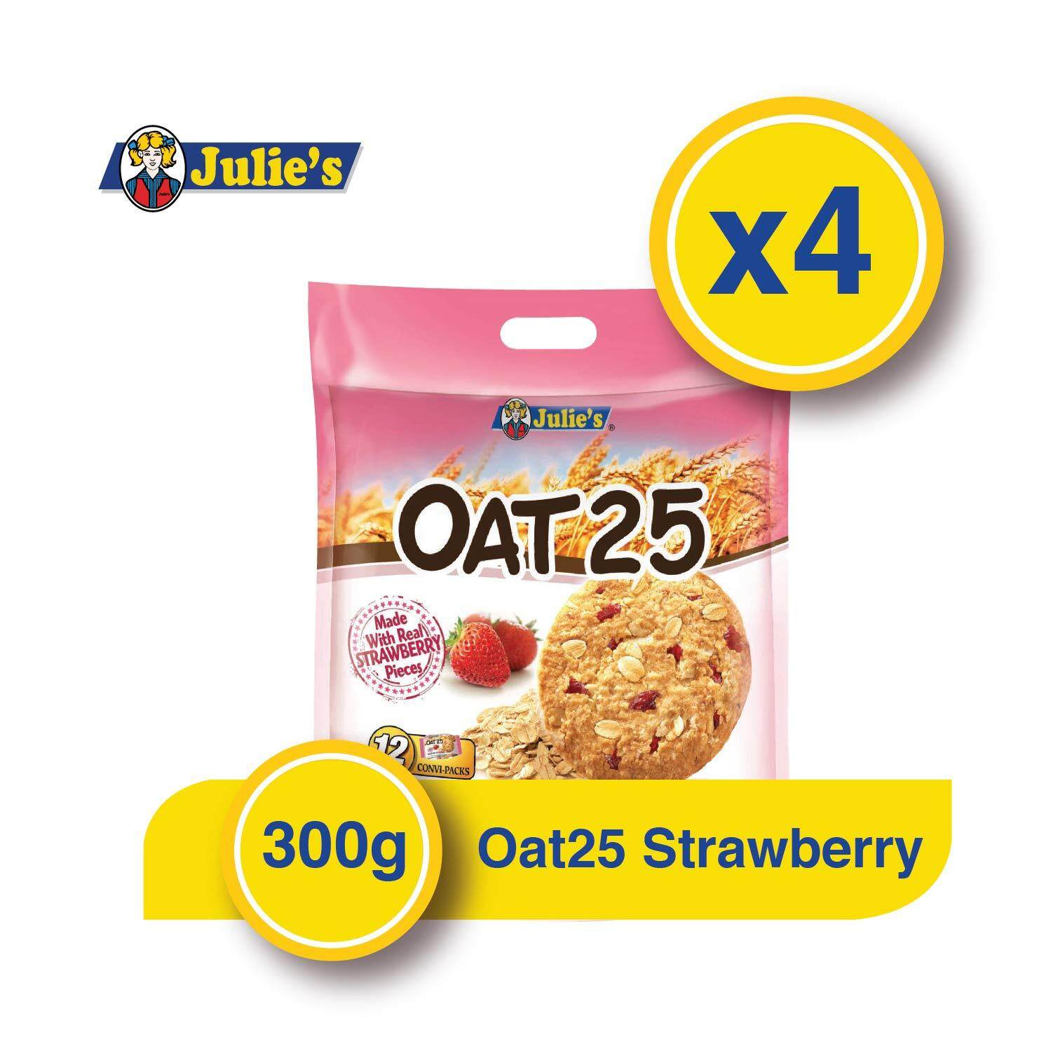 Julie's Oat25 Strawberry Biscuit x 4 packs + Free 5 pack Convi pack Biscuit
