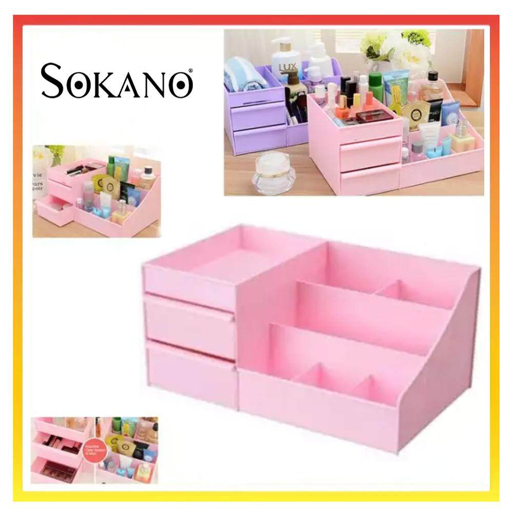 SOKANO 1341 Large Capacity Cosmetic and Table Top Organizer With Drawers- Pink
