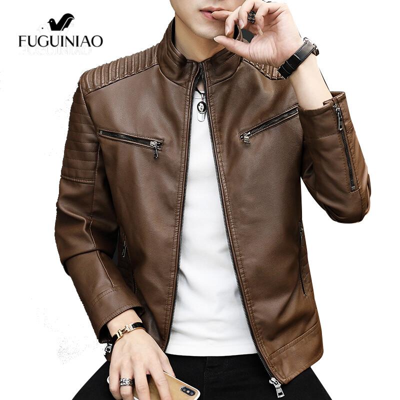 Fuguiniaoแจ็คเก็ตผู้ชาย,ใหม่แจ็คเก็ตฤดูหนาวย้อนยุคหนังPUปกตั้งชุดกีฬาเสื้อบอมเบอร์เสื้อโค้ท
