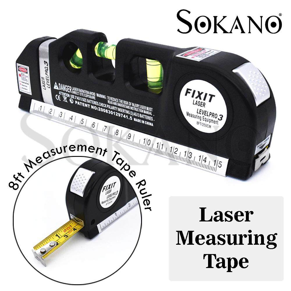 SOKANO Laser Level Pro 03 Multipurpose Laser Level laser measure Line 8ft+ Measurement Tape Ruler Adjusted Standard and Metric Rulers