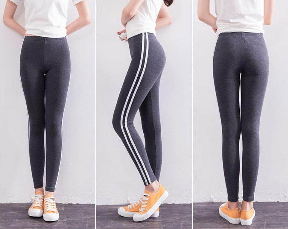 Women Fashion Sexy Stripe Training Sports Yoga Pants Leggings Elastic Gym Fitness Workout Running Tights