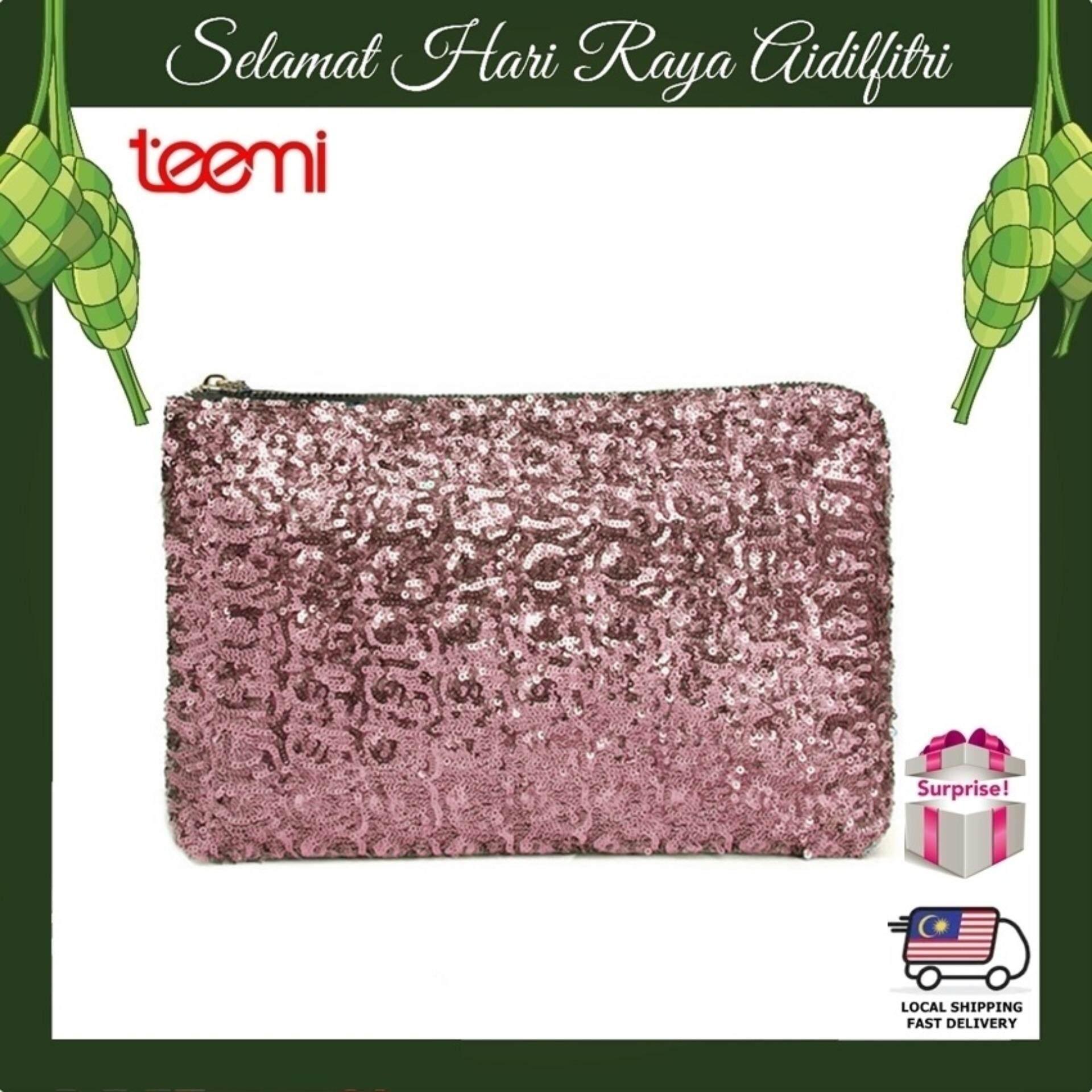 TEEMI Sequins Metallic Glitter Clutch Evening Dinner Purse Women HandBag Dazzling Sparkling Party Bag - Pink