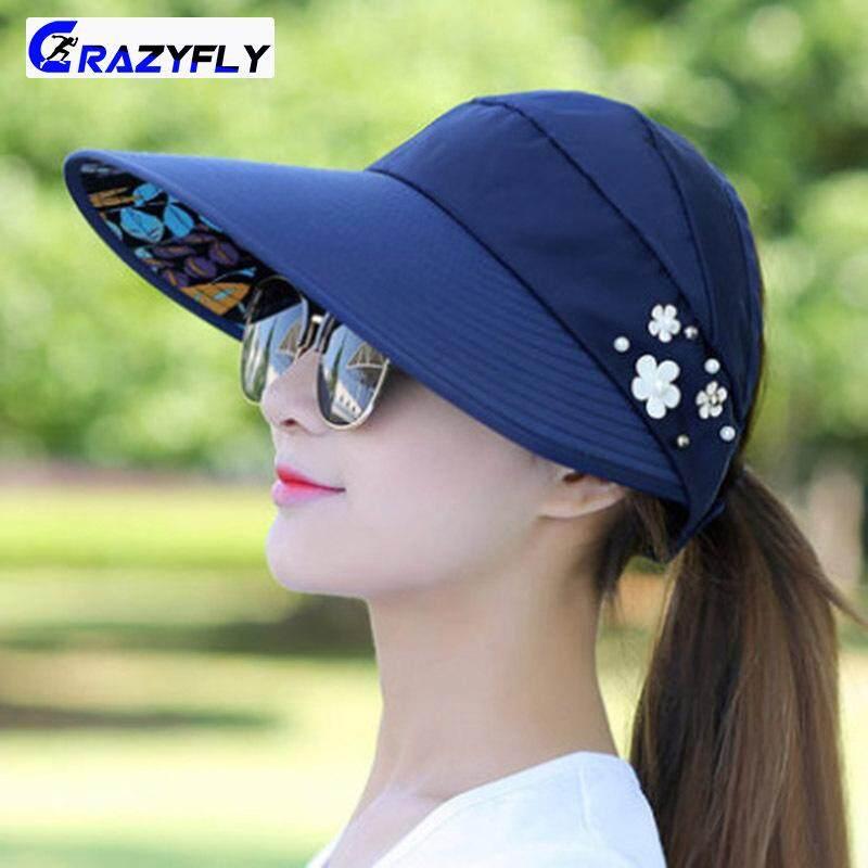 eea7517e5 Crazyfly Women Sun Hats Wide Brim UV Protection Summer Beach Foldable Visor  Cap