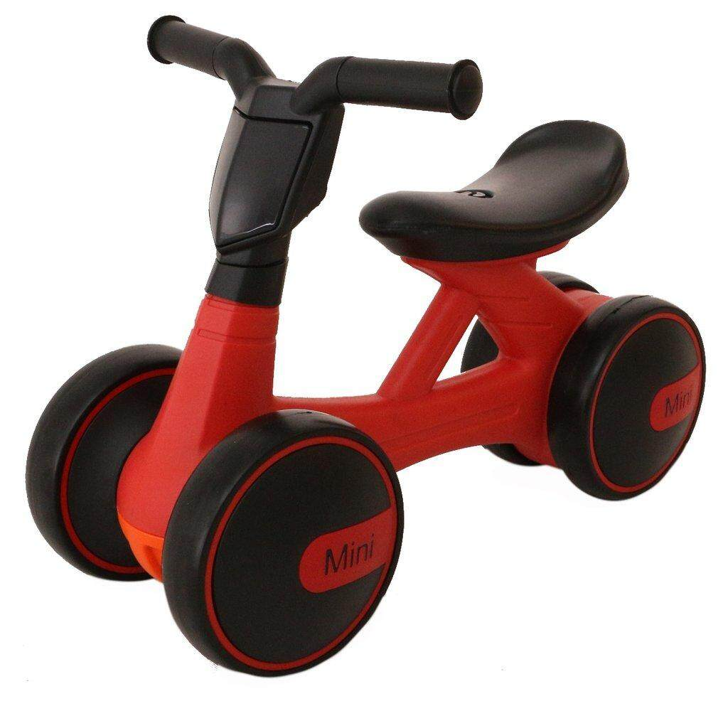Alpha Living TOY0075 Ride On Vehicle Bike for Children Mini Balancing Baby Four Wheels Bicycle with Music and Light (Red Variant, Require 3 AA)
