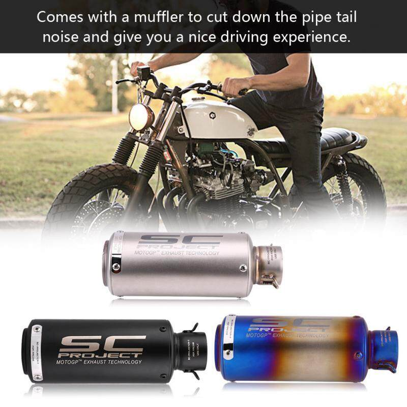 Moto Accessories - SC project Motorcycle Exhaust Muffler Tailpipe Tail Pipe Tip Stainless Steel - [HALF BLUE / BLACK]