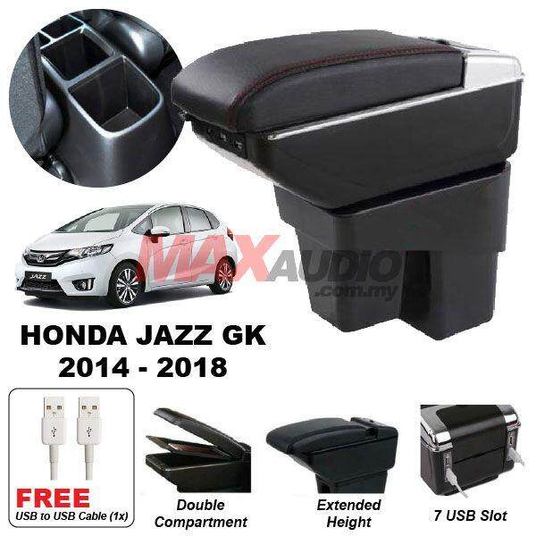 [FREE GIFT] HONDA JAZZ GK 2014 - 2018 Premium Quality Adjustable Black Leather With Red Stitch Arm Rest with USB Charger Extension & Cup Holder
