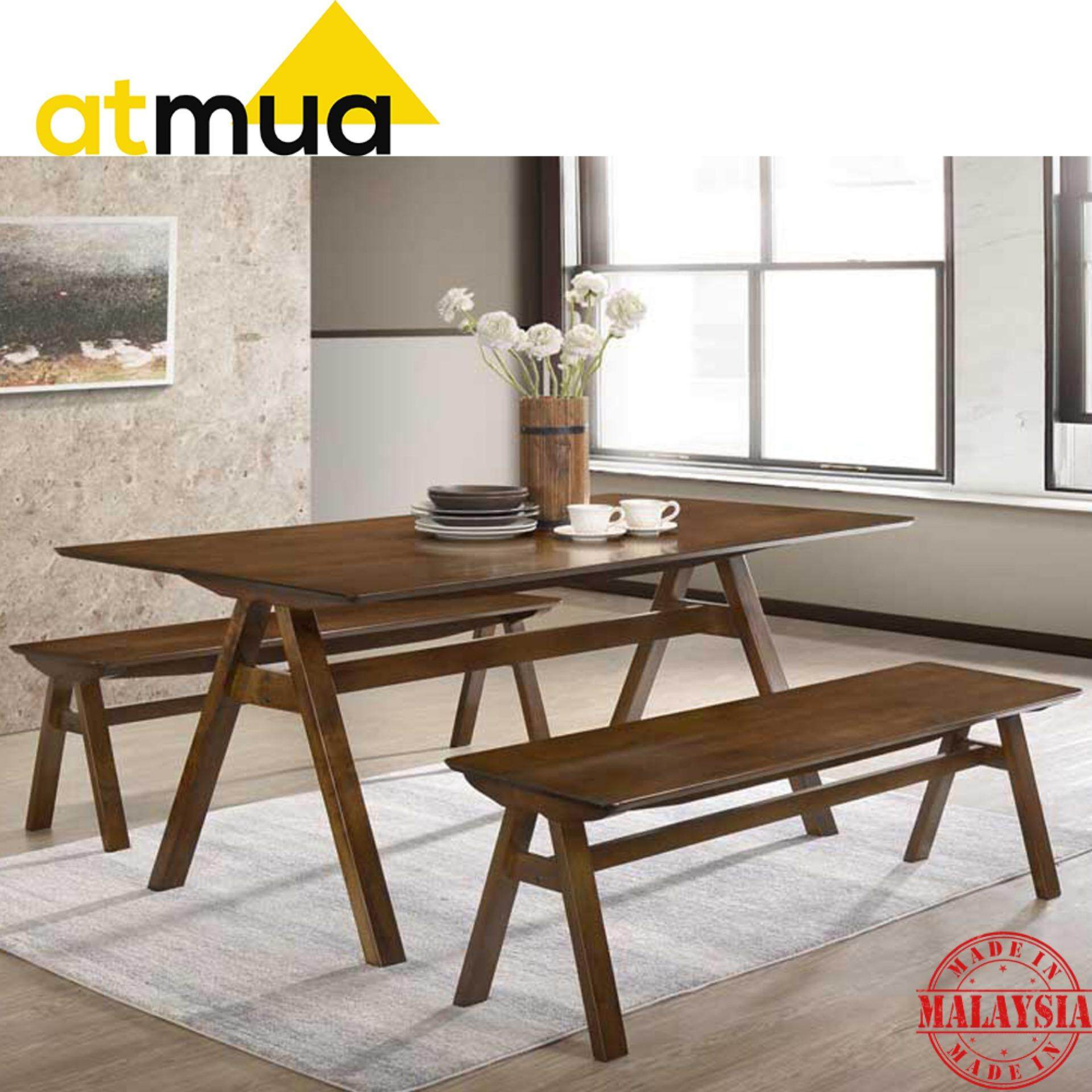 Atmua Vivo Dining Set (1 Table + 2 Bench Chair) [Full Solid Rubber Wood] 6 Feet Length *Suitable For Caf 6 Seater