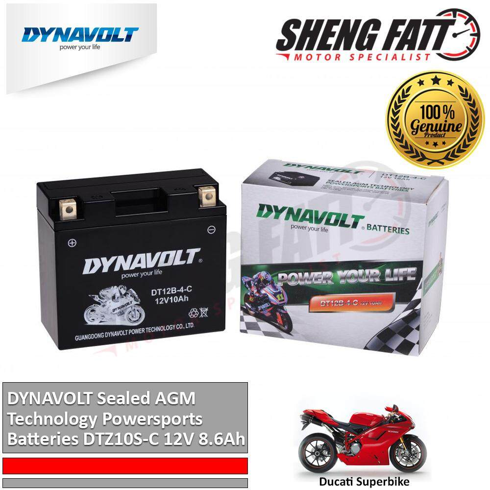 Ducati Superbike 1098 / 1198 DYNAVOLT Sealed AGM Technology Powersports Batteries DT12B-4-C 12V 10Ah