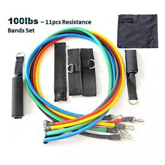 100lbs 11pcs Resistance Bands Elastic Yoga Gym TRX Band MuscleWorkout Ropes