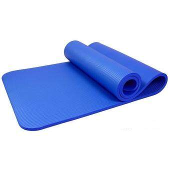 Harga 10mm Thick exercise Yoga Mat Blue+Belt