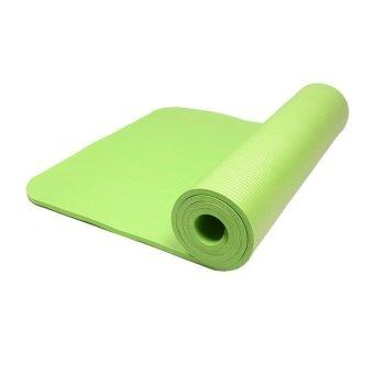 Harga 10mm Thick exercise Yoga Mat Green+Belt