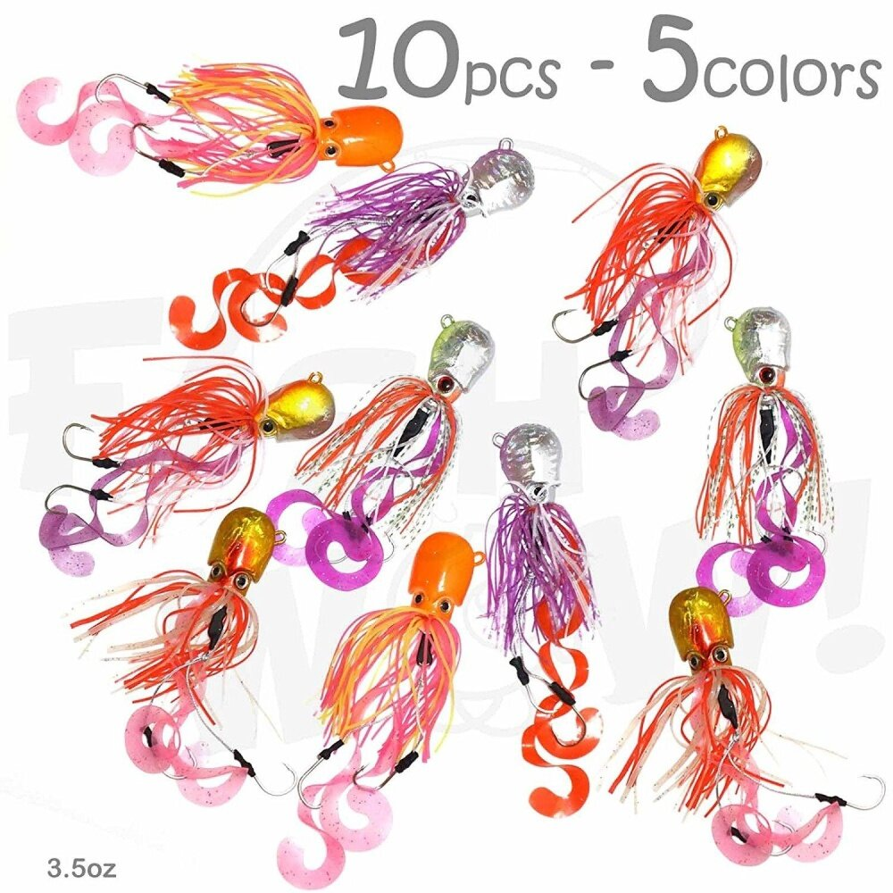 10pcs Fish WOW! 100ml Fishing Octopus head Jig Colourful Rubber 100g Thunder Jig Weight Lures jigging Heavy Bait w/ two hooks -5 colours- Green, Pink, Orange, Gold, Yellow - intl
