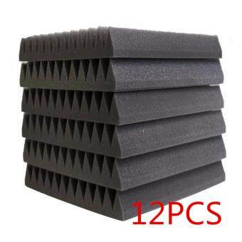 Harga 12Pcs Sound Absorption Foam Acoustic Wedge Studio Sound Absorption Wall 5x30x30cm