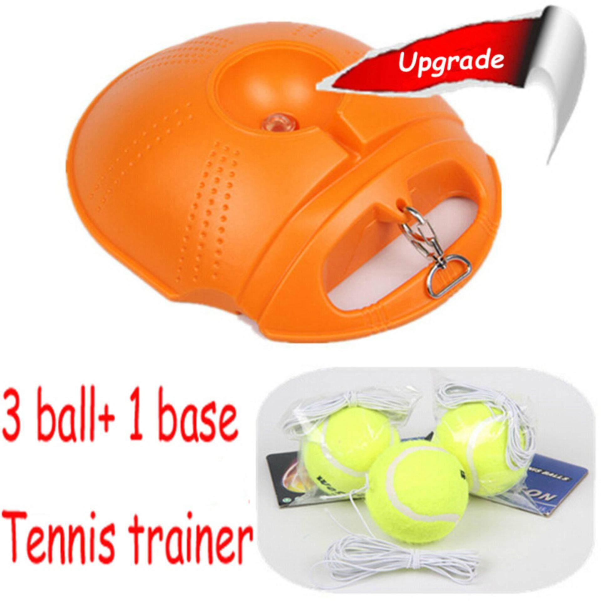 3 Bola dan 1 Base Tenis Baru Praktik Pelatih Tunggal Train Latihan Bola Alat Pasangan Ditetapkan untuk Pemula-Internasional