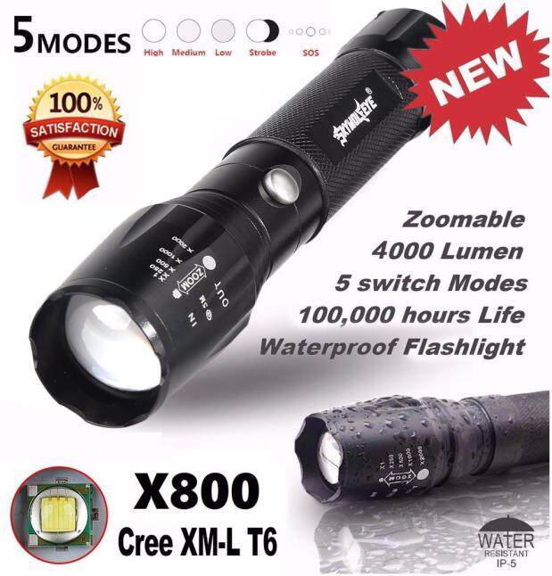 Harga 5000LM G700 Tactical LED Flashlight X800 Zoom Super Bright Military Light Lamp Black