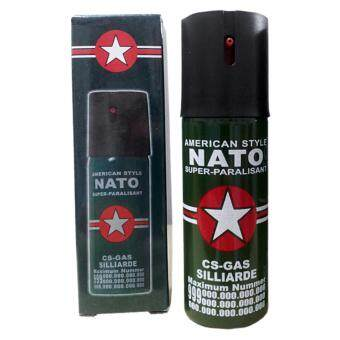 Harga 60ml Spray 9 Feet Distance Nato CS Gas Pepper Spray Self Defensefor Ladies (Green)