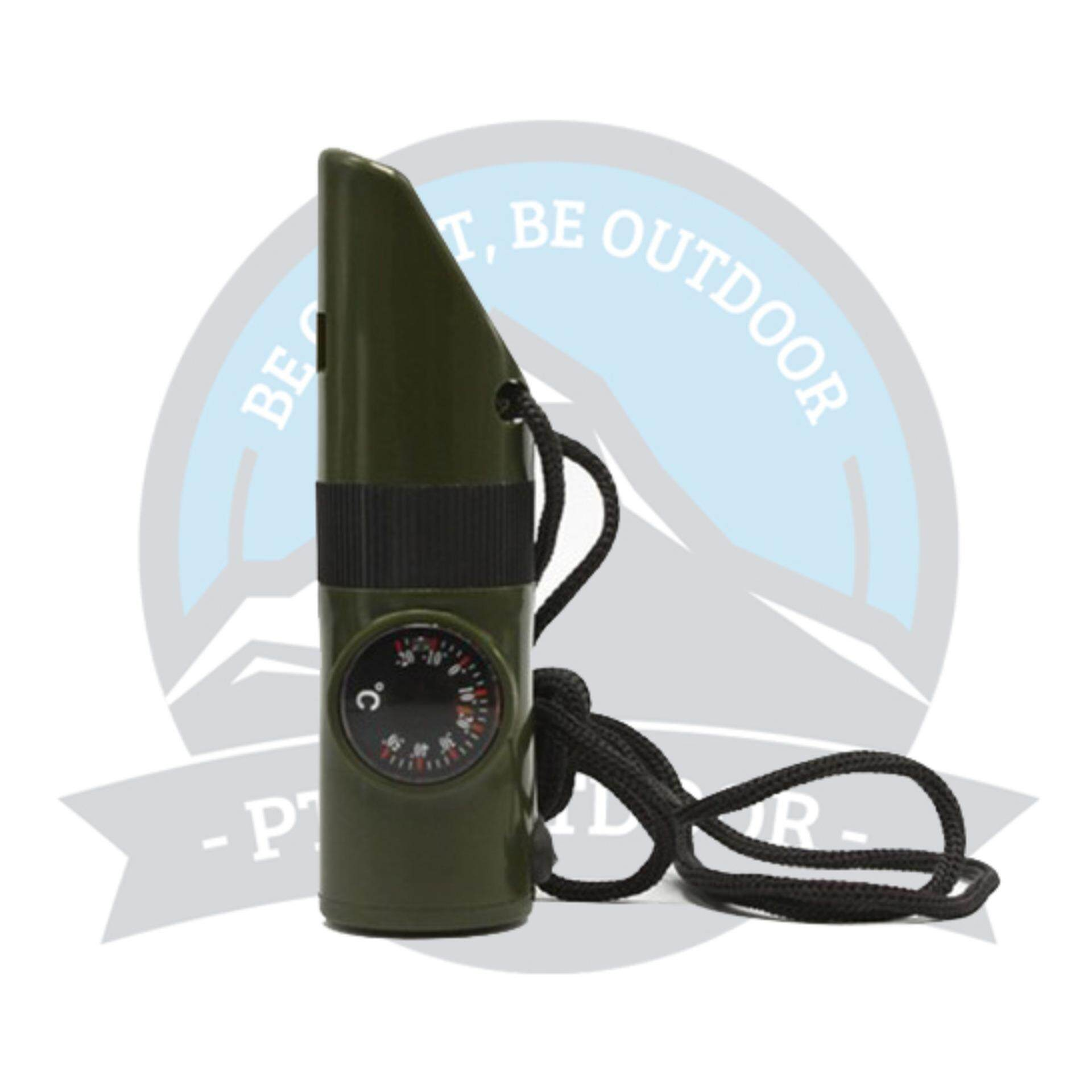 [READY STOCK] 7-in-1 Multifunction Outdoor Emergency Whistle w/ Compass / LED Flashlight / Thermometer - Army Green