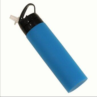 800ML Eco Squeeze Sports Drink Gym Bottle Straw Water Hydration NoBPA Silicone (Blue)