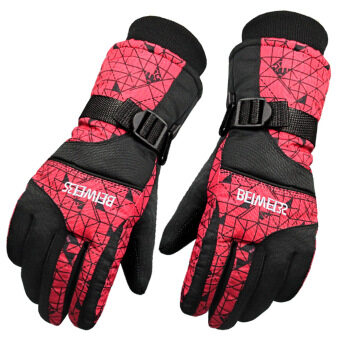 Harga Adults Winter Windproof Waterproof Anti-slip Thermal Warm SkiCamping Gloves Winter Glove Red for Women