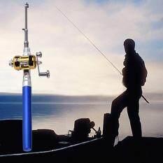 Harga Allwin Mini Portabel Aluminium Alloy Pocket Pen Bentuk Ikan Pancingan With Reel Biru Asli