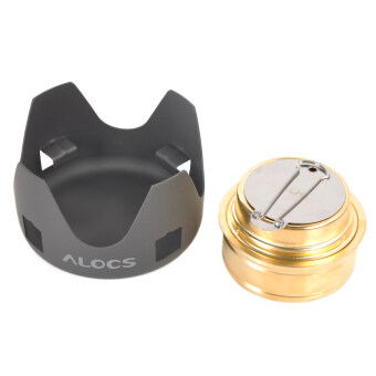 ALOCS Portable Camping Alcohol Stove Spirit Burner Black + Gold - 3