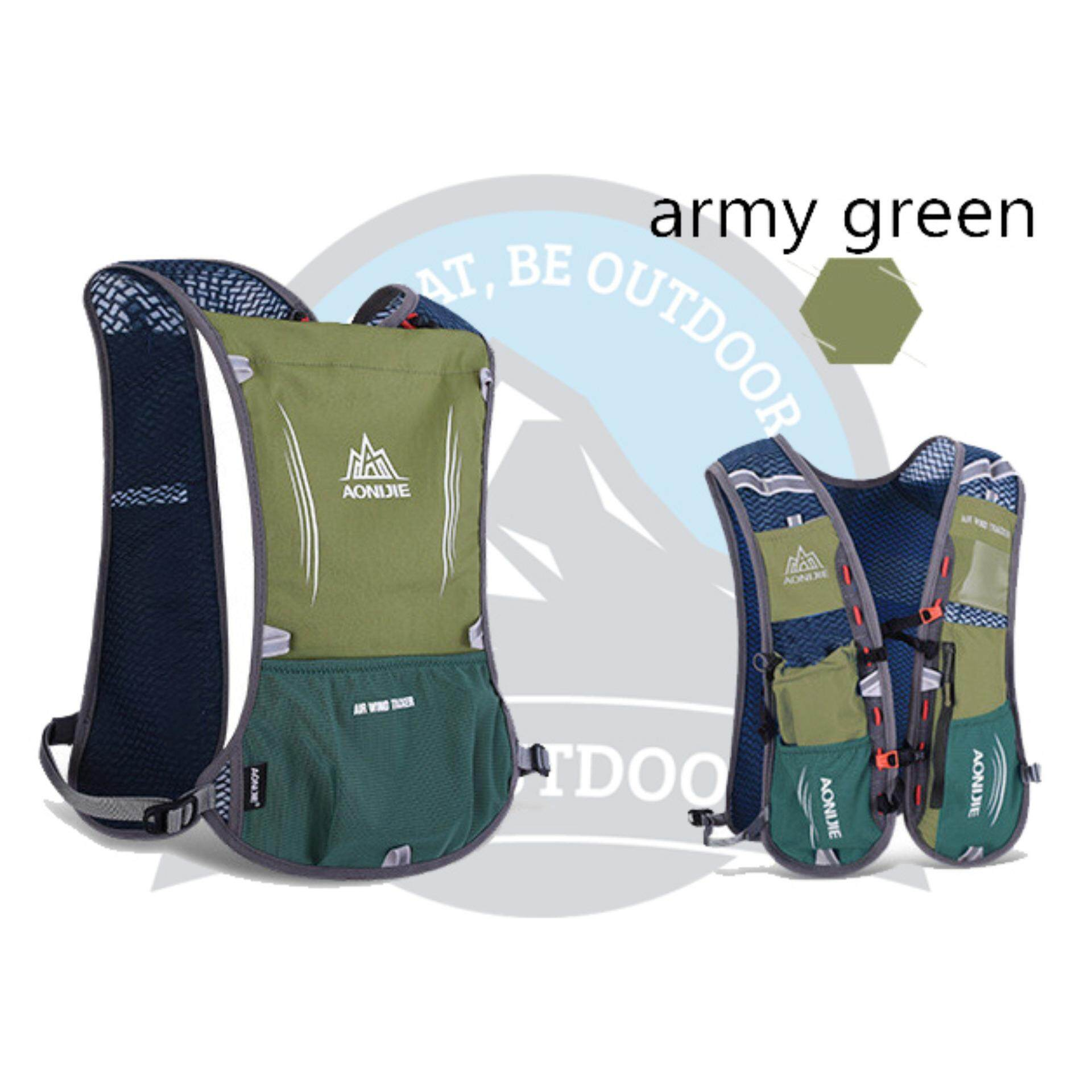 [READY STOCK] Aonijie 5L Outdoor Vest Bag With Multiple Pockets - ARMY GREEN