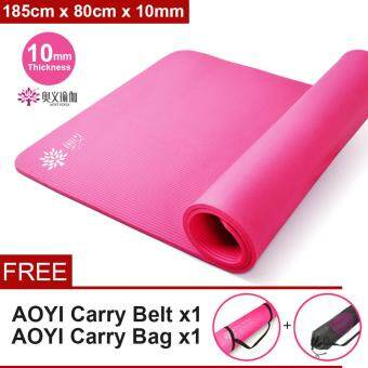 AOYI [NP30] 10mm Tickness Multi-Function Exercise Yoga Mat Non-Slip Extra Thick (185cm x 80cm x10mm)