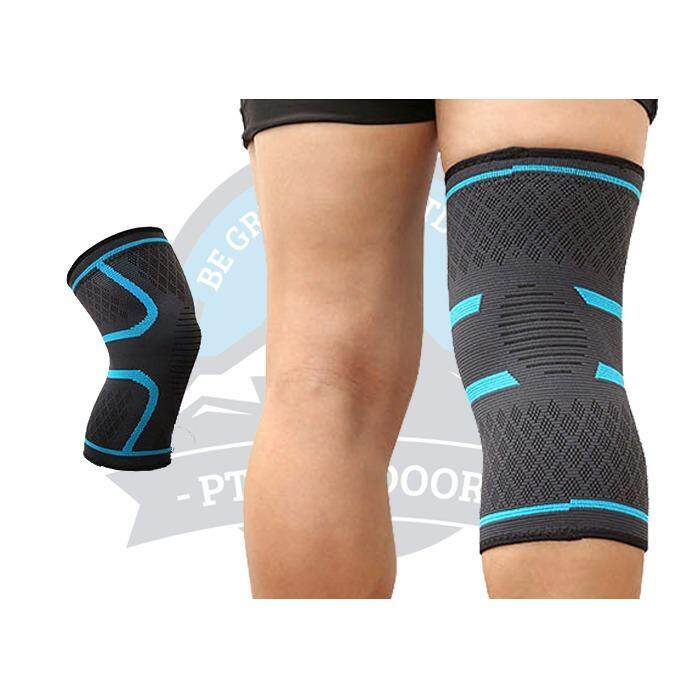 [ BEST SELLER ] A Pair Aolikes Elastic Compression Knee Brace Cycling Running Hiking Outdoor Sports Fitness Knee Sleeve Pad Support Guard - Blue