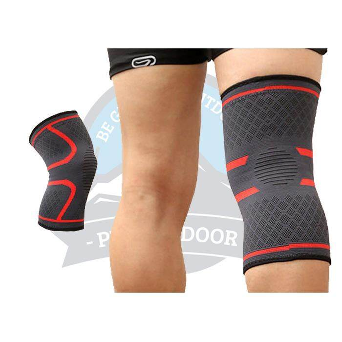 [ BEST SELLER ] A Pair Aolikes Elastic Compression Knee Brace Cycling Running Hiking Outdoor Sports Fitness Knee Sleeve Pad Support Guard - Red