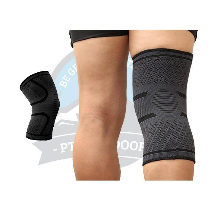 [ BEST SELLER ] Aolikes A Pair Elastic Compression Knee Brace Cycling Running Hiking Outdoor Sports Fitness Knee Sleeve Pad Support Guard - Black