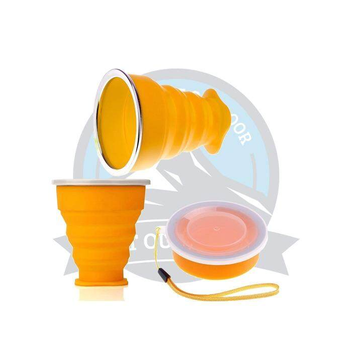 [ BEST SELLER ] Waowei Foldable Travel Cup Silicone Foldable Mug Collapsible Water Cup with Lid for Camping or Travel 240ML - ORANGE