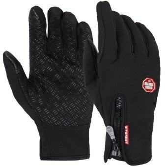 Harga Bicycle Motorcycle Gloves Outdoor Sport Warm Windproof ThermalTouch Gloves Riding Running Bike Cycling Gloves Hot Hands Warmer(Black)