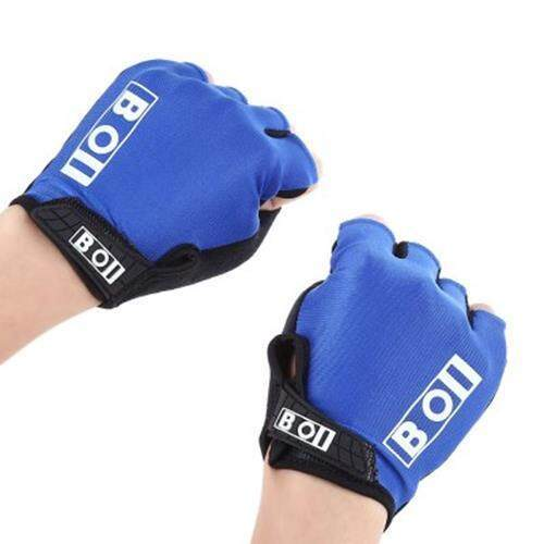 BOI BREATHABLE ANTI-SLIP UNISEX SHOCK RESISTANT OUTDOOR SPORTS HALF-FINGER BIKE BICYCLE CYCLING GLOVES (BLUE)