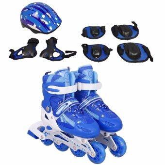 BUNDLE: SOKANO Inline Skated Roller Shoes With Adjustable Length and Protective Equipment Blue (S size)