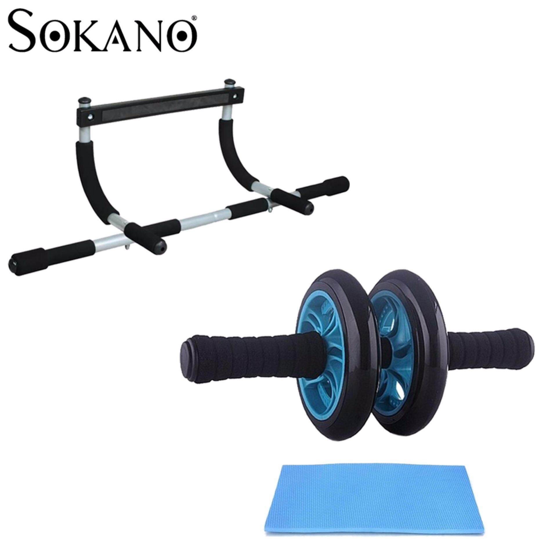 BUNDLE: SOKANO Iron Gym Door Gym Chin Up Bar Upper Body Workout Bar + New Generation Double Wheel AB Roller Free Knee Mat