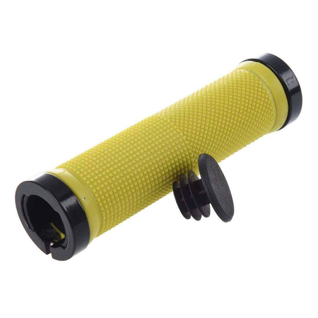 Vanker Karet Ergonomis Bersepeda Mtb Sepeda Gunung Kunci Grip Hitam Ganda Jalan Bmx Siklus Mengunci Pada Pengunci Stang Grips Kuning