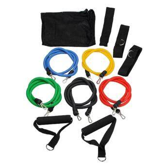 EcoSport 11Pcs Exercise Latex Resistance Bands Muscle Rope Tube Yoga Fitness Abs Stretch Workout Gym