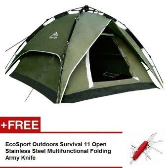 EcoSport Dome Tent For 4 Person (Green) + EcoSport Pocket Knife