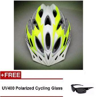 Harga EcoSport FS007 High Quality Safety Cycling Helmet (Green WhiteLine) + UV400 Polarized Cycling Glass