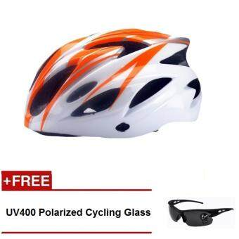 Harga EcoSport FS007 High Quality Safety Cycling Helmet (Orange White) +UV400 Polarized Cycling Glass