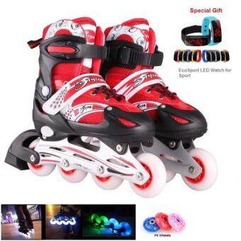 Harga EcoSport High Quality Adjustable Inline Skate Full Flash Wheels All LED Wheels (Red) + LED Sport Watch
