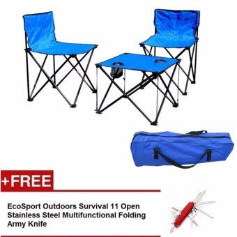 EcoSport Portable Folding Camping Table and Chairs (Blue) + EcoSport Pocket Knife