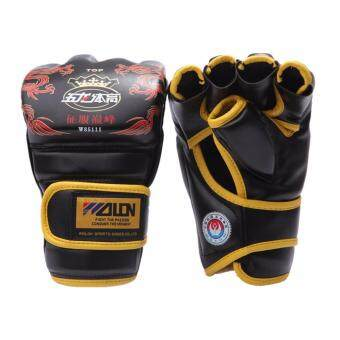 Harga EcoSport WOLON 124 Adult Thick Boxing Gloves MMA Gloves Half FingerSanda Taekwondo Fight MMA Sandbag Glove Professional TrainingEquipment (Black)