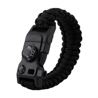 Emergency Paracord Bracelet Tactical Survival Gear With CompassThermometer(Black)