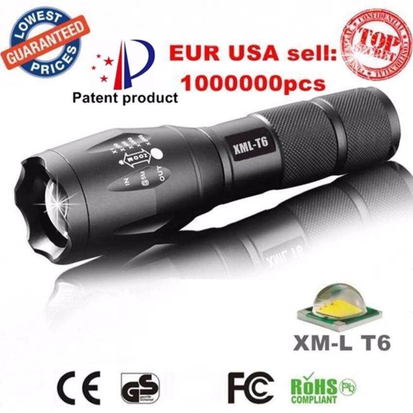 FFY 3800LM CREE XM-L T6 X800 Zoom LED Flashlight Torch Waterproof Flashlights 5 Mode Led Zoomable Light Lamp Black