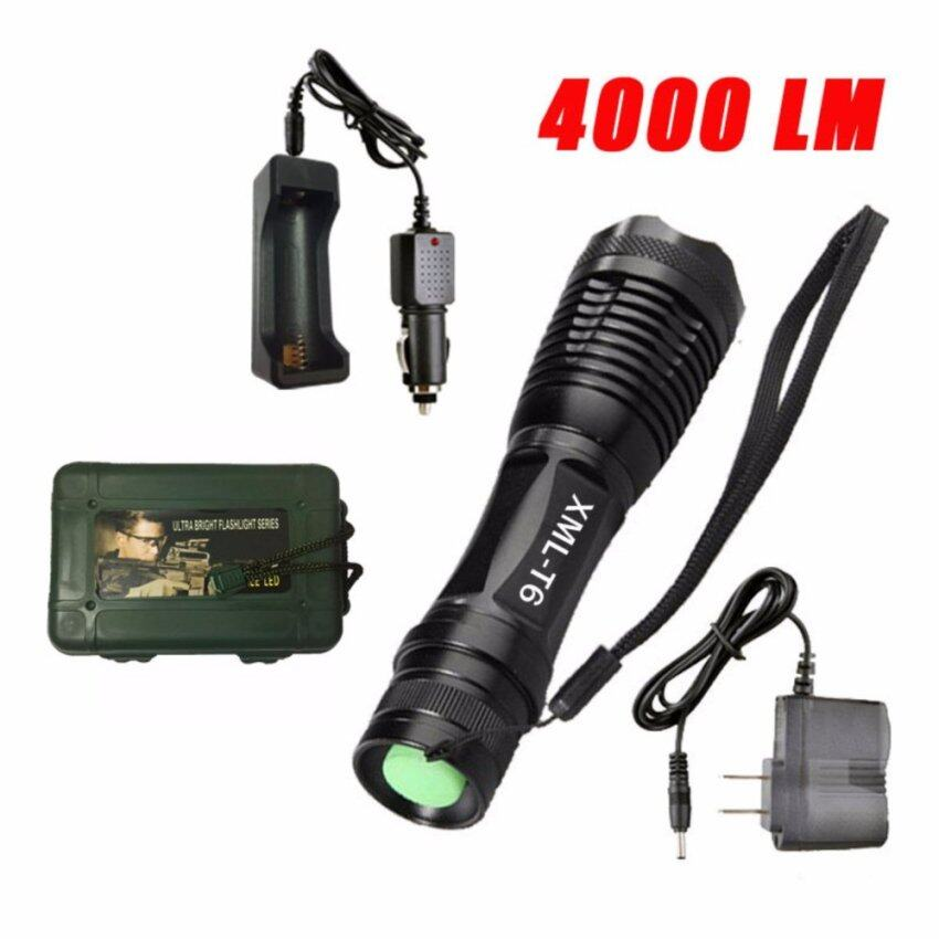 Harga FFY LED Flashlight Torchlight Aluminum Zoomable Waterproof TorchLight Black + Car Charger + US Charger + Protective Case Box